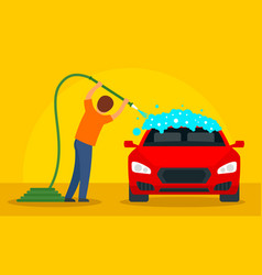 Man wash car concept background flat style vector