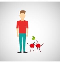 man with cartoon fruit cherrys vector image