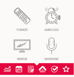 microphone alarm clock and tv remote icons vector image