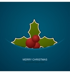 Modern christmas berries on blue background vector