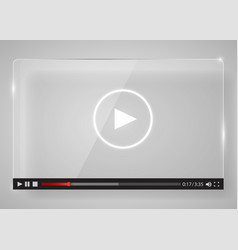 Modern glass transparent video player for web vector