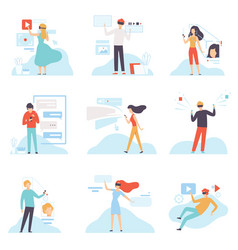 modern virtual technologies set people using vector image