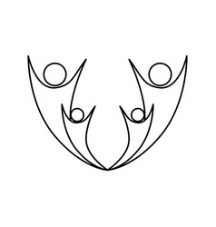 monochrome abstract contour of family group vector image