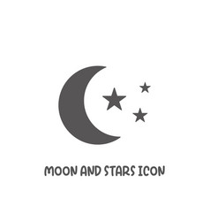 moon and stars icon simple flat style vector image