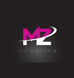 Mz m z creative letters design with white pink vector