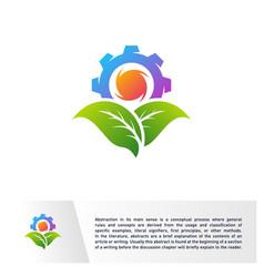 Nature gear logo design template mechanic vector