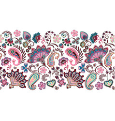 Paisley seamless border pattern ethnic vector