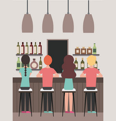 People interior coffee shop or bar restaurant vector