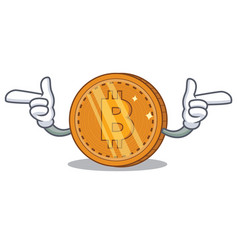 Poiting finger bitcoin coin character cartoon vector