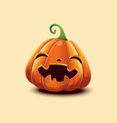 Realistic halloween pumpkin happy face vector