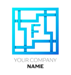 Realistic letter f logo in colorful square maze vector
