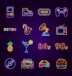 Retro sign neon icons vector