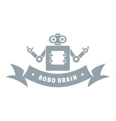 Robot brain logo simple gray style vector