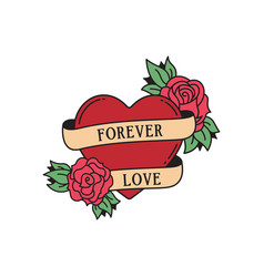 rose and heart tattoo with wording forever love vector image