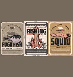 Seafood delicacy fishing club retro banner vector