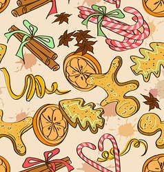 Seamless pattern christmas sweets vector