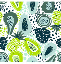 Seamless pattern with creative modern fruits hand vector