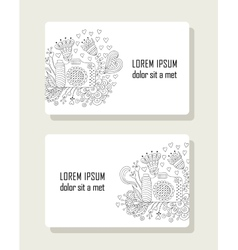 set cards with hand drawn floral elements and vector image