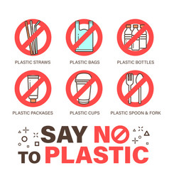 Set no plastics sign environmental problem vector