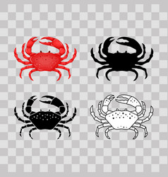 set of flat red black thin line white crab vector image