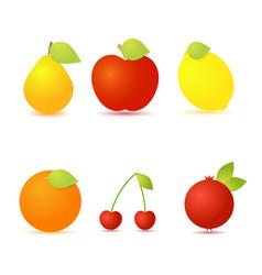 set of fresh fruit on a white background vector image