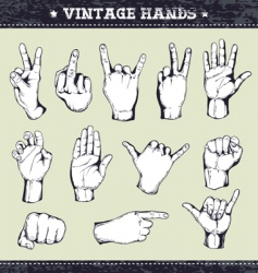 set of vintage hands vector image