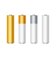 Set of White Golden Yellow Silver Gray Batteries vector