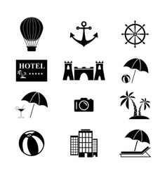 set summer holiday icons vector image