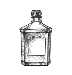 Square classic tequila bottle with cork cap vector