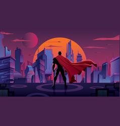 Superhero in futuristic city vector
