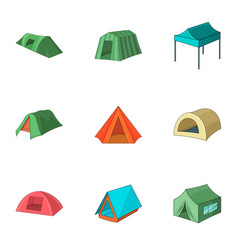 tent shop icons set cartoon style vector image