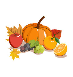 thanksgiving food icon autumnal fruit with yellow vector image
