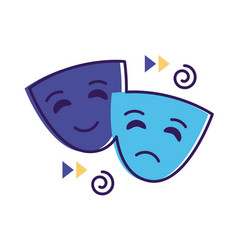 Theater masks flat style icon vector