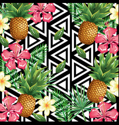 Tropical flower and pineapple with abstract vector
