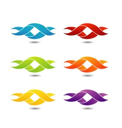 Twisted ribbon- abstract logo in different colors vector