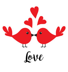two kissing bird family couple three red heart vector image