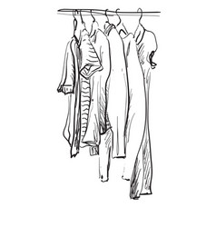 wardrobe sketch clothes on the hangers hand vector image vector image