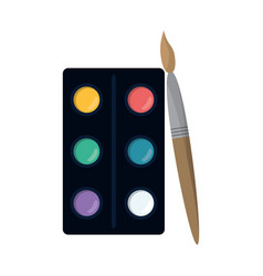 watercolors palette brush paint vector image