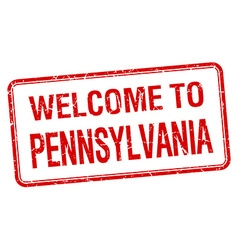 Welcome to Pennsylvania red grunge square stamp vector