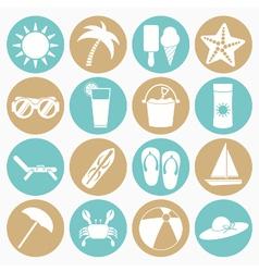 White icons summer beach vector