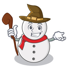 witch snowman character cartoon style vector image