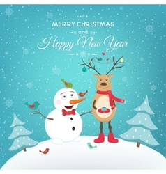 year card with funny snowman deer vector image