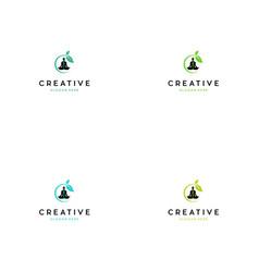 Yoga chakra creative logo design vector
