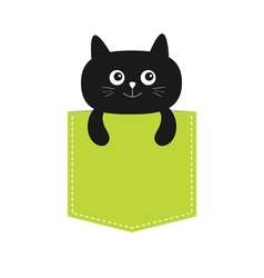 Cat in the pocket Cute cartoon character Black vector image vector image