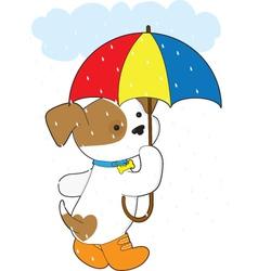 cute puppy in rain vector image vector image