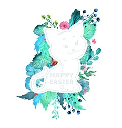 Easter watercolor natural with kitten sticker vector image vector image