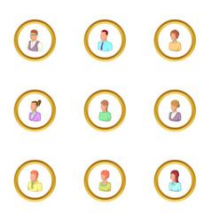 portrait icons set cartoon style vector image vector image