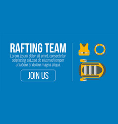 rafting banner tourism equipment and web elements vector image vector image