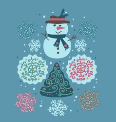 snowman and tree vector image