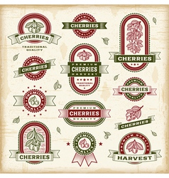 Vintage cherry labels set vector image vector image